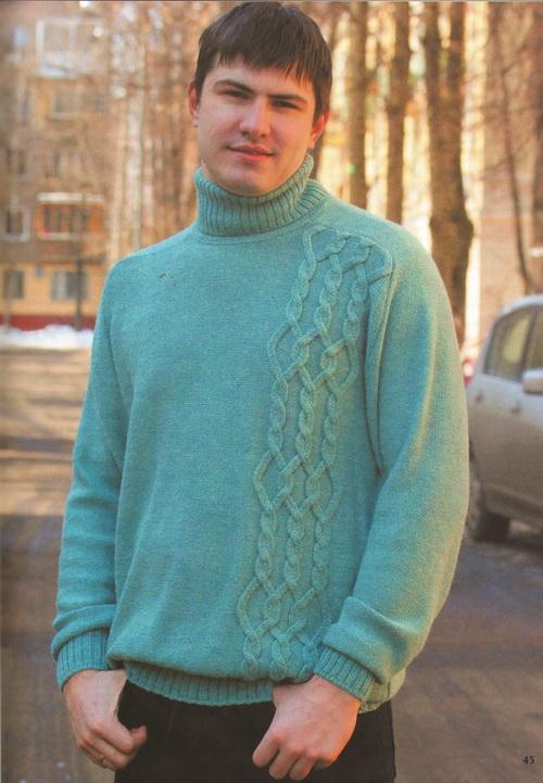 Фото Мужской свитер чулочной вязкой
