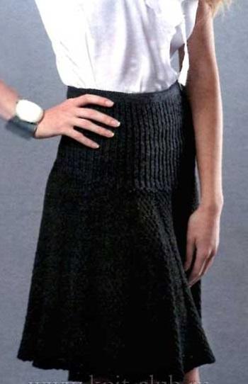 Фото юбка спицами с кокеткой и складками