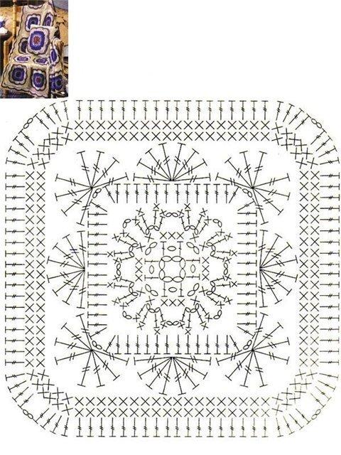 Фото схема цветы в вязанных подушках крючком