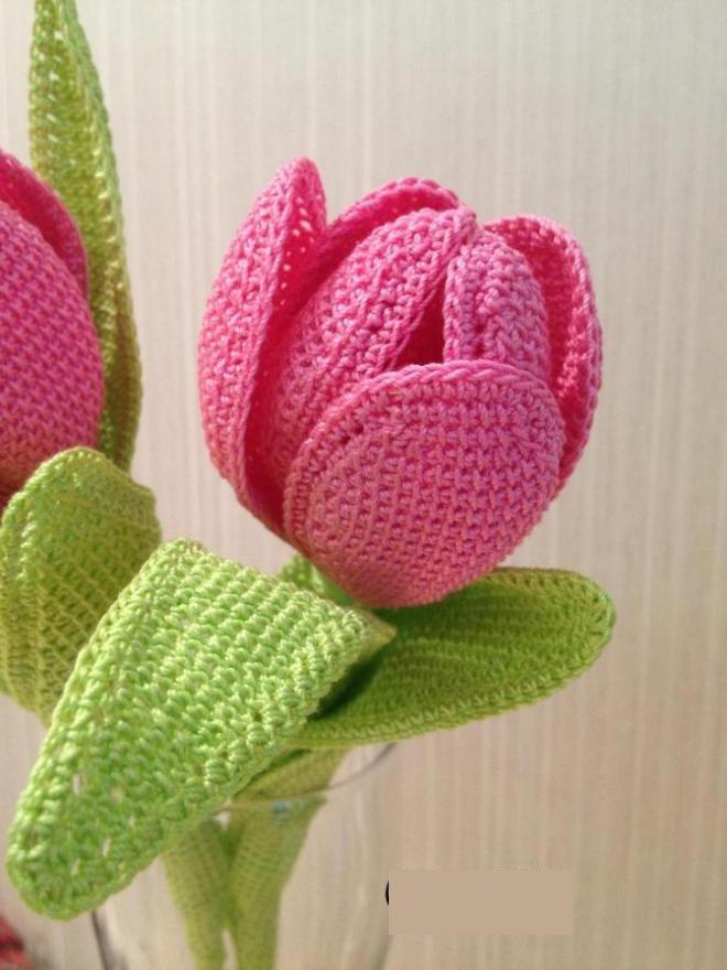 Фото вязаные крючком тюльпаны