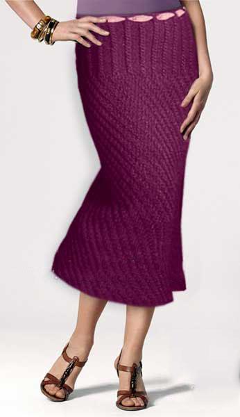 Фото длинная юбка спицами