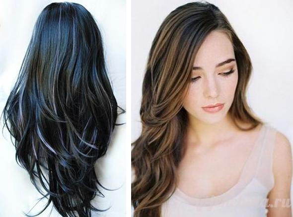 Белое мелирование на чёрные волосы