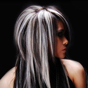 Фото контрастное мелирование на черные волосы