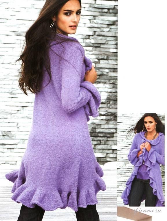 Фото модели вязаного пальто для фигуры прямоугольник