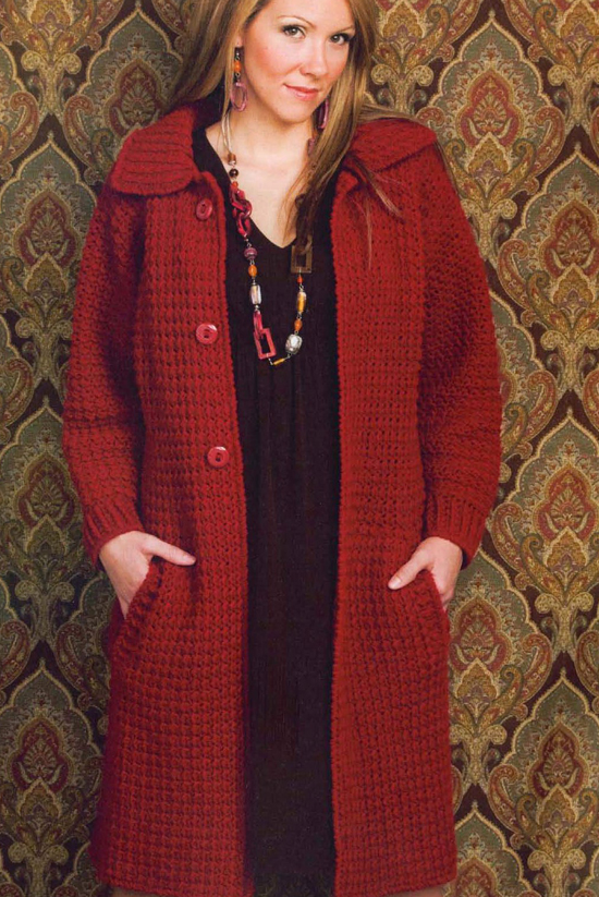 Вязаное пальто для полных
