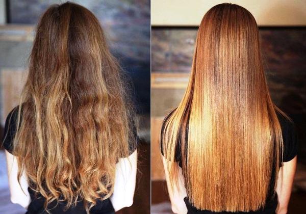 глянцевание волос до и после