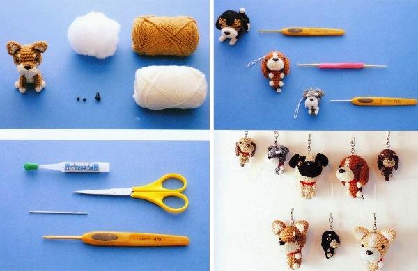 материалы для вязания брелка собачки