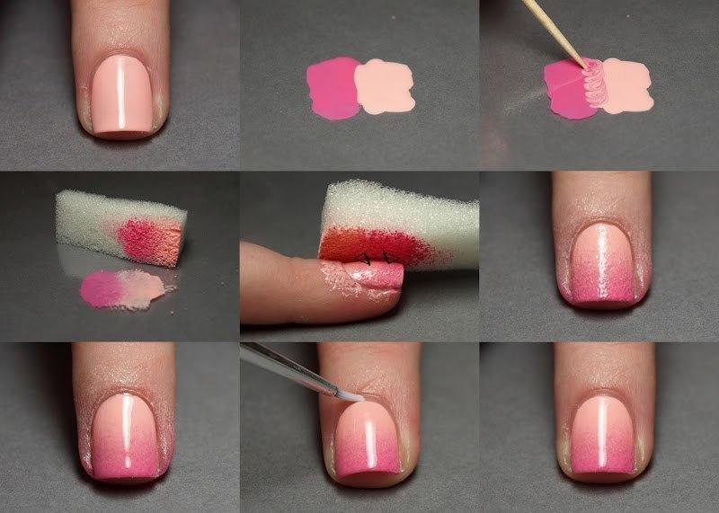 пошаговое выполнение деграде на ногтях