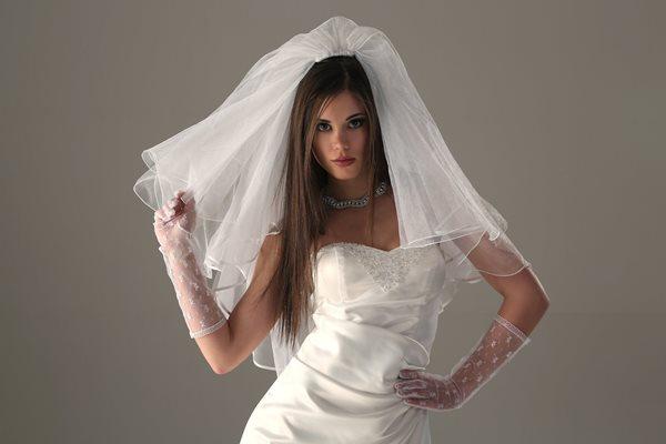 фата на невесте