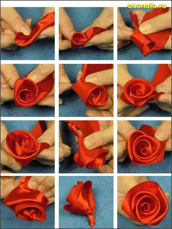 Розы из лент своими руками пошаговое видео фото 634