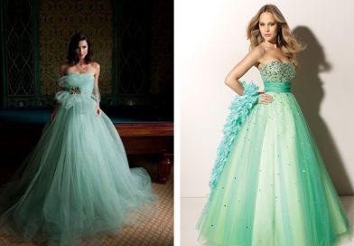 Свадебное платье зеленого цвета