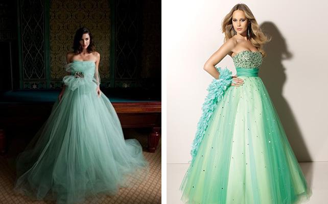 Свадебное платье зеленого цвета 2