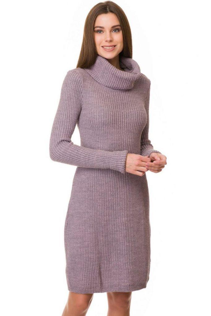 Трикотажное платье-свитер