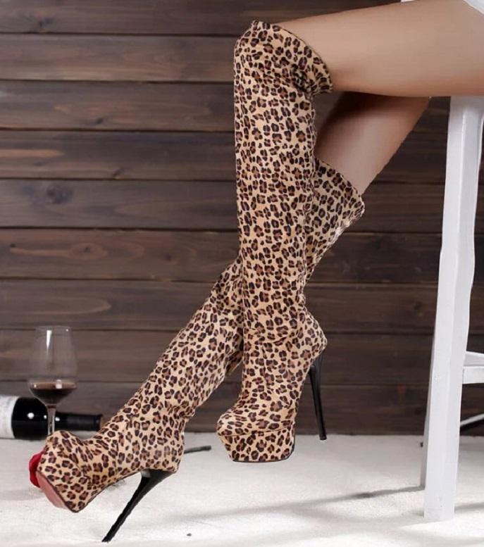 Леопардовые ботфорты