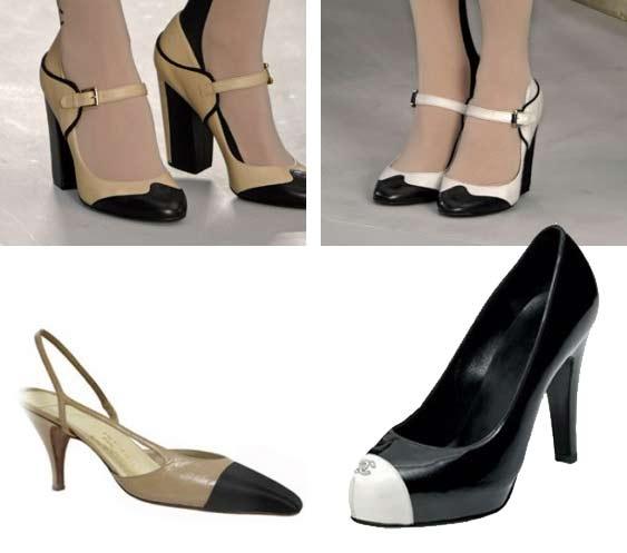 Двухцветно-контрастные туфли