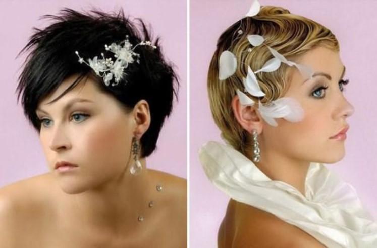 Свадебная прическа с короткими волосами