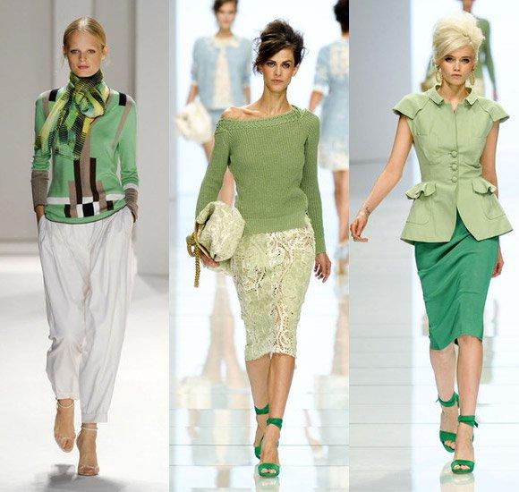 ансамбль в зелено-бело-бежевых тонах