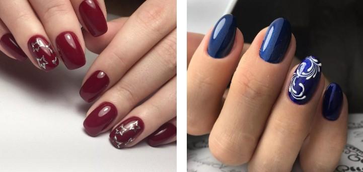 Вишневый и синий маникюр