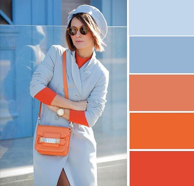нежно-голубой смело сочетайте с оранжевым
