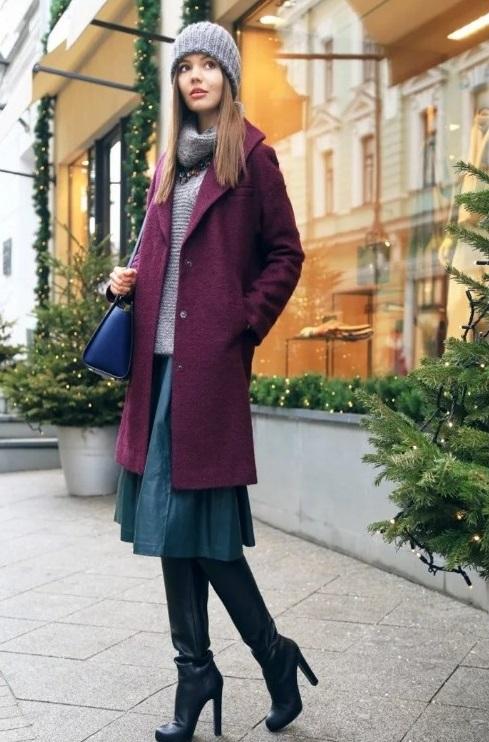 С чем носить бордовое пальто фото 2