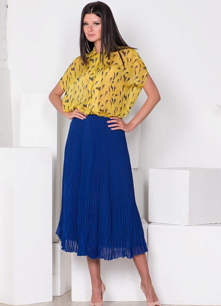 синяя  плиссированная юбка