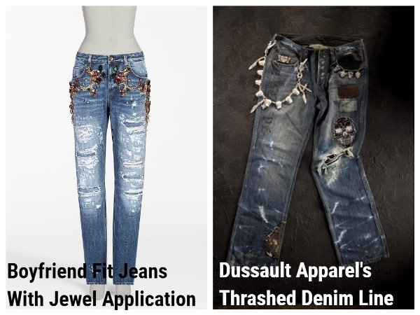 джинсы Boyfriend Fit Jeans With Jewel Application и Dussault Apparel's Thrashed Denim Line