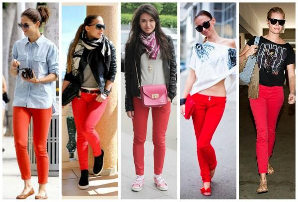 Какую обувь носить с красными джинсами