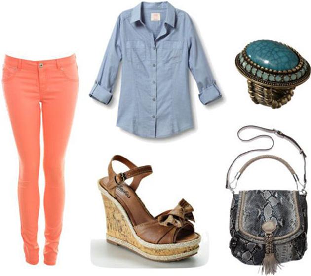 Как правильно носить цветные джинсы