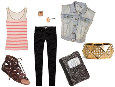 Несколько образов с джинсовой жилеткой
