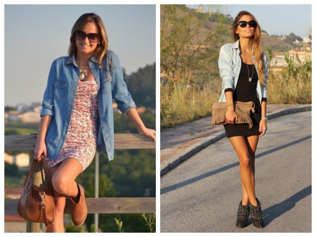 джинсовая рубашка с платьем мини