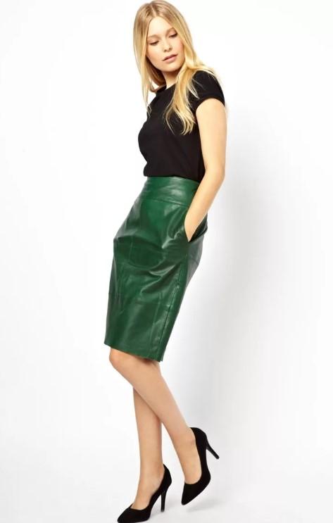 Зеленая кожаная юбка
