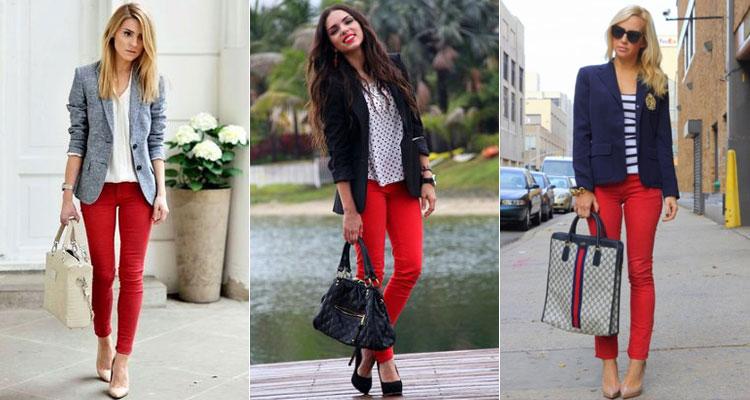 Сумки и обувь с красными джинсами