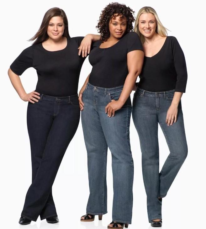 Прямые джинсы для полных девушек