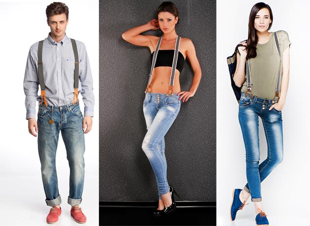 Джинсовые брюки и подтяжки