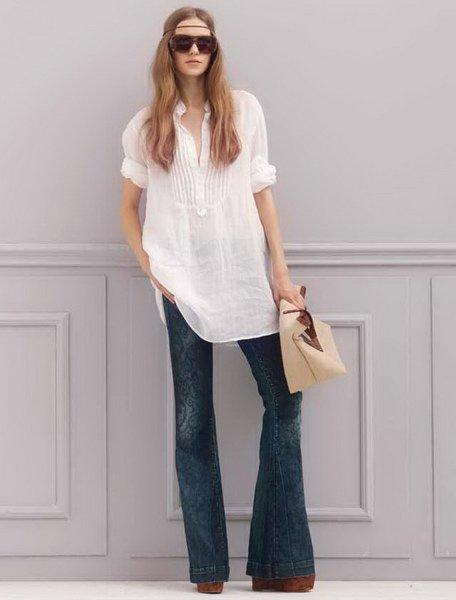 джинсы клеш с туникой